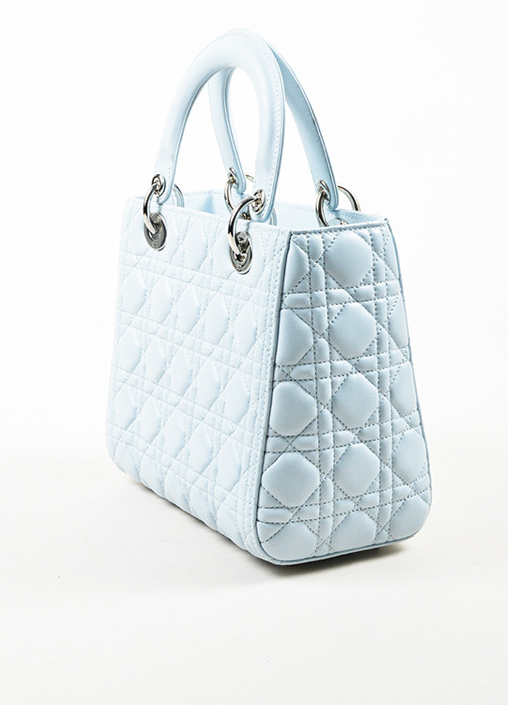 Baby Blue Christian Dior Leather Medium Lady Dior Tote Side