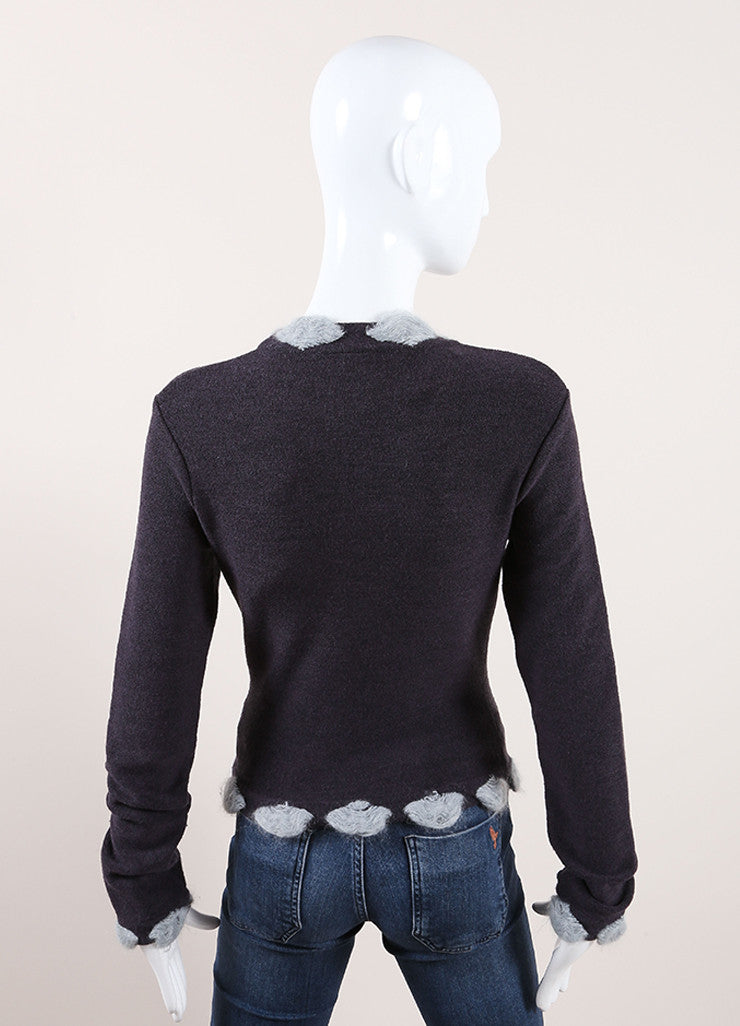 Christian Dior Grey and Light Blue Wool Blend Pom Pom Long Sleeve Sweater Backview