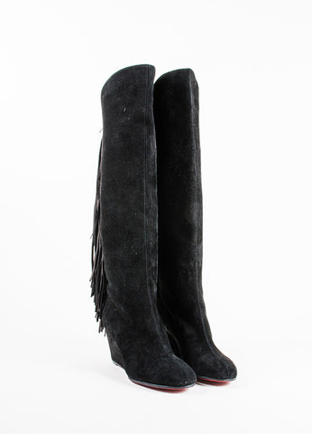 "Christian Louboutin Black Suede Fringe ""Pouliche 70"" Knee High Wedge Boots Frontview"