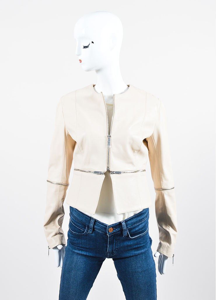 Cream Leather Christopher Kane Zip Off Cropped Jacket Front