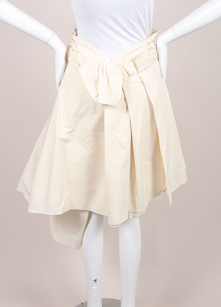 Comme des Garcons New With Tags Cream Heavyweight Asymmetric Layered Cotton Skirt Backview