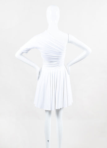 "Cushnie et Ochs White Jersey One Shoulder Cutout & Flared ""Dondi"" Dress back"