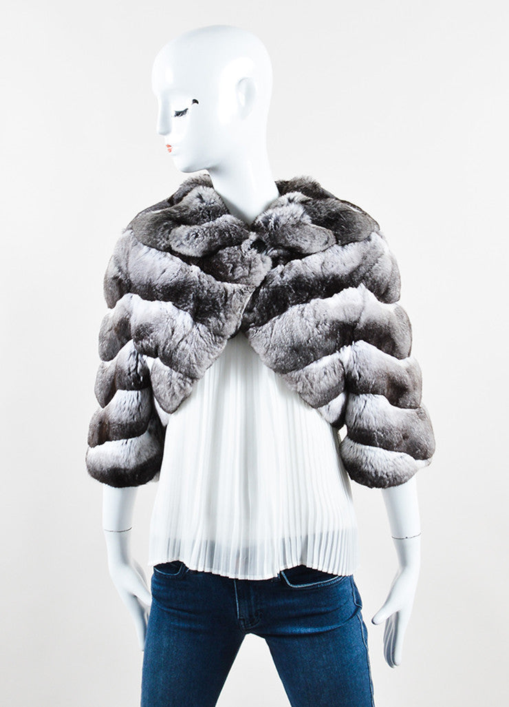 Dennis Basso Black and White Chinchilla Fur Crop Sleeve Shrug Jacket Frontview 2