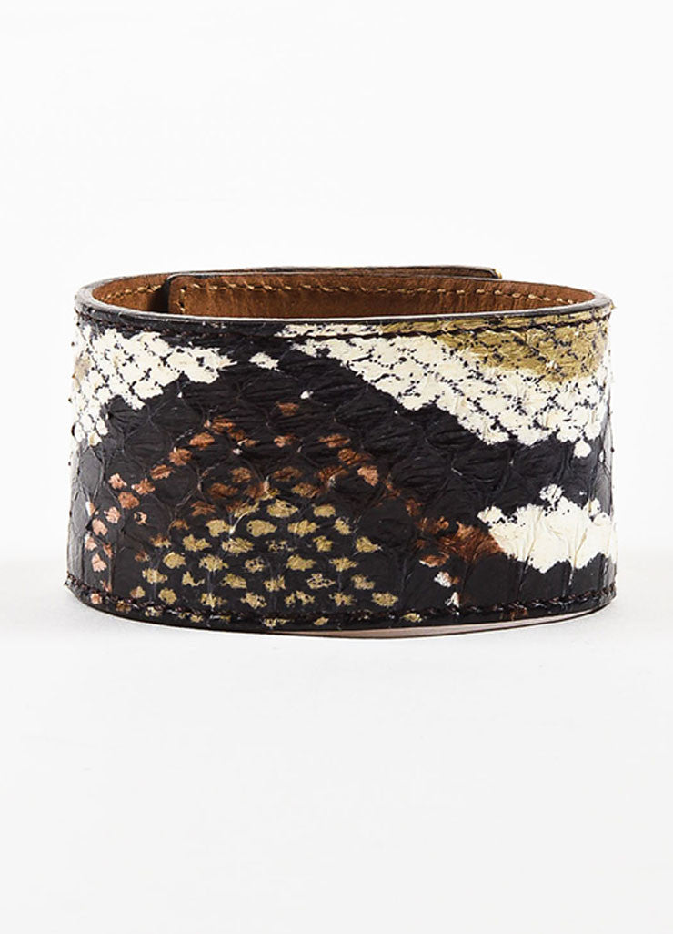 "Fendi Gold Toned, Black, and Cream Snakeskin Leather ""Goldmine"" Wide Bracelet Backview"