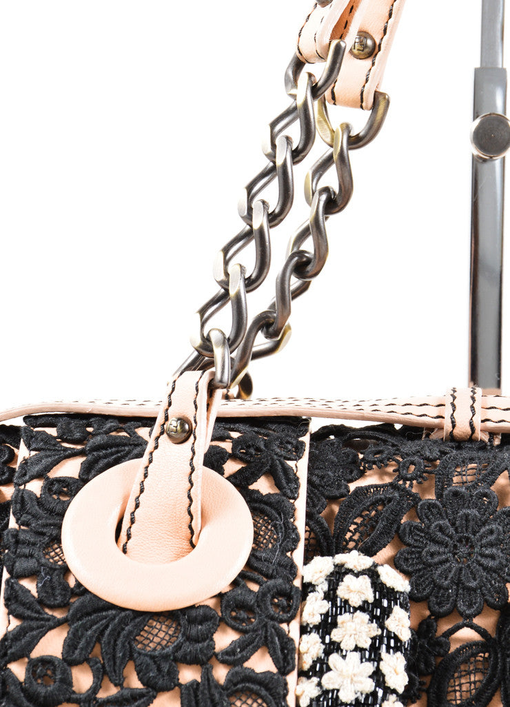 "Fendi Pale Pink and Black Leather Lace Floral Detail Chain Strap ""B."" Bag Detail 2"