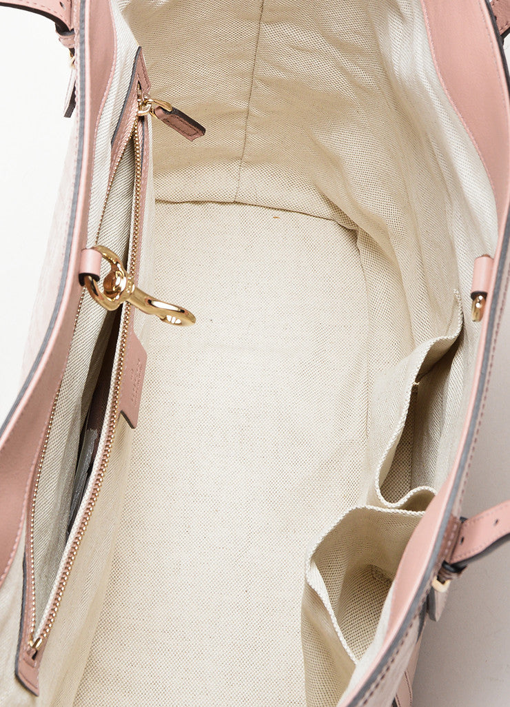 "Pink Gucci Patent Leather Monogram Embossed ""Microguccissima"" Tote Bag Interior"