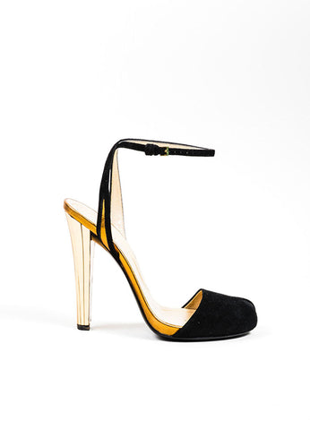 "Black Suede and Gold Mirror Heel Peep Toe Gucci ""Delphine"" Sandal Heels Sideview"
