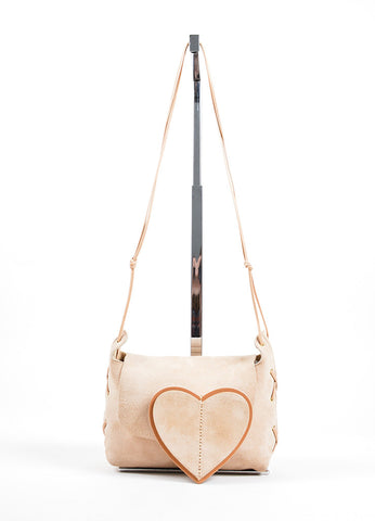 Gucci Beige Tan Suede Heart Shoulder Bag Front