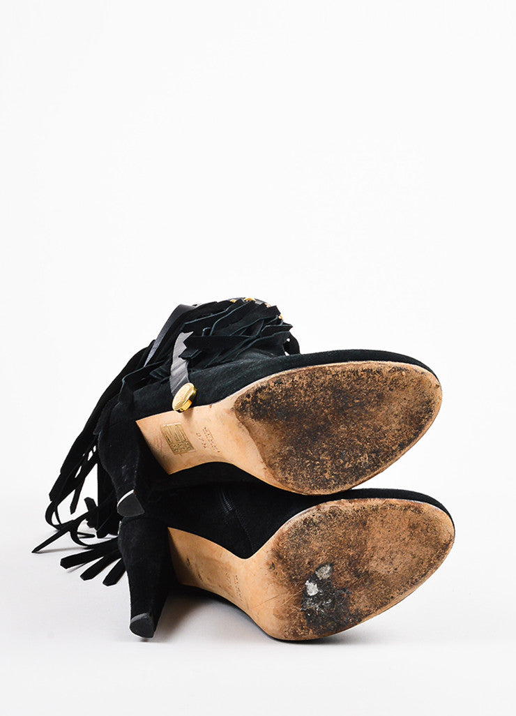 "Gucci Black and Gold Toned Suede Fringe Studded ""Devendra"" Ankle Boots Outsoles"