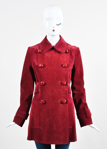 Burgundy Red Gucci Suede Double Breasted Coat Frontview 2