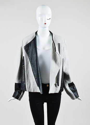 Grey and Black Helmut Lang Wool Blend Jacquard Leather Zip Jacket Frontview