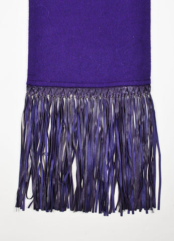 Hermes Deep Purple Cashmere and Lambskin Leather Fringe Long Scarf Shawl Detail