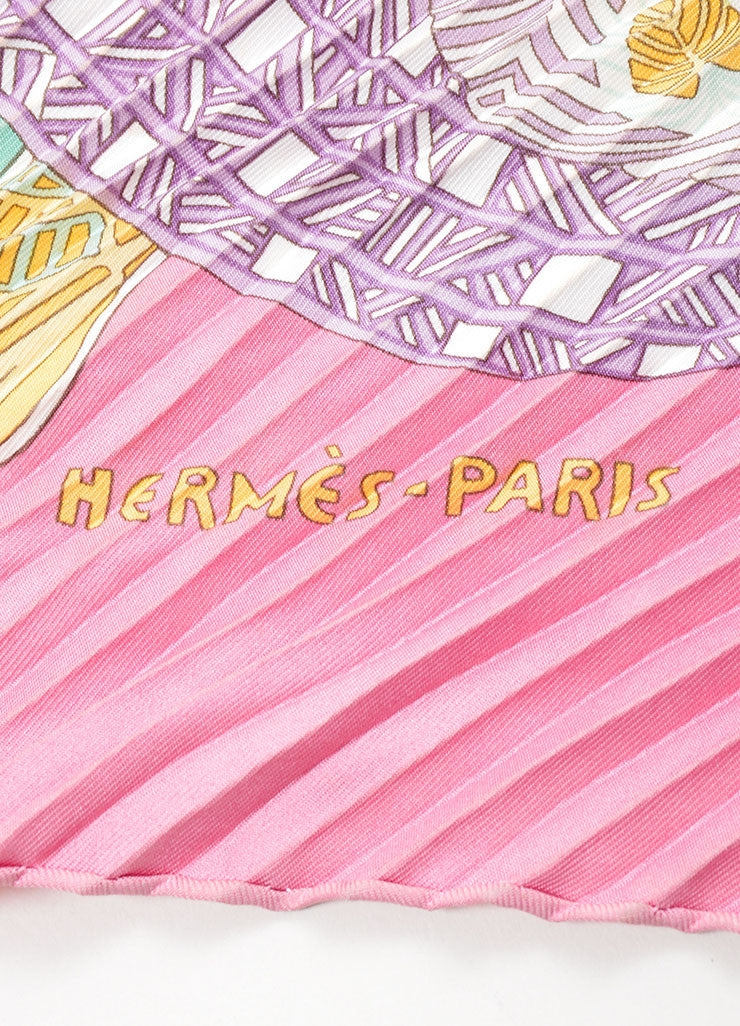 "Multicolor Silk Hermes Horse Print Pleated ""Art des Steppes"" Plisse Scarf Detail 2"