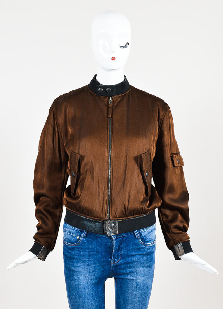Jean Paul Gaultier Femme Brown Padded Long Sleeve Bomber Jacket Frontview 2