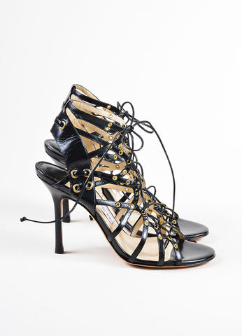 Black Jimmy Choo Leather Strappy Lace Up Open Toe Heels Side