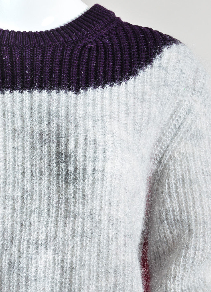 Grey, Purple, and Fuchsia Kenzo Mohair Blend Knit Pullover Sweater Detail