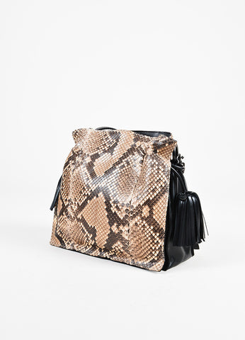 "Loewe Beige Brown Python Leather ""Flamenco"" Tassel Drawstring Bag angled"