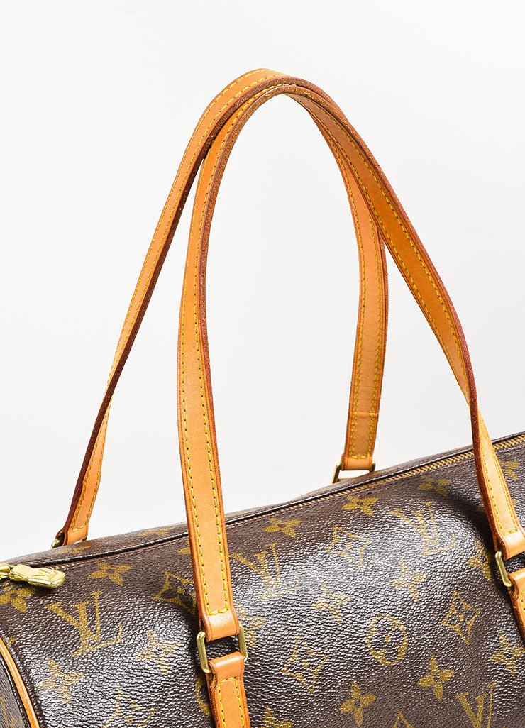 "Louis Vuitton Brown and Tan Coated Canvas Monogram ""Papillon"" Duffle Bag Detail 2"