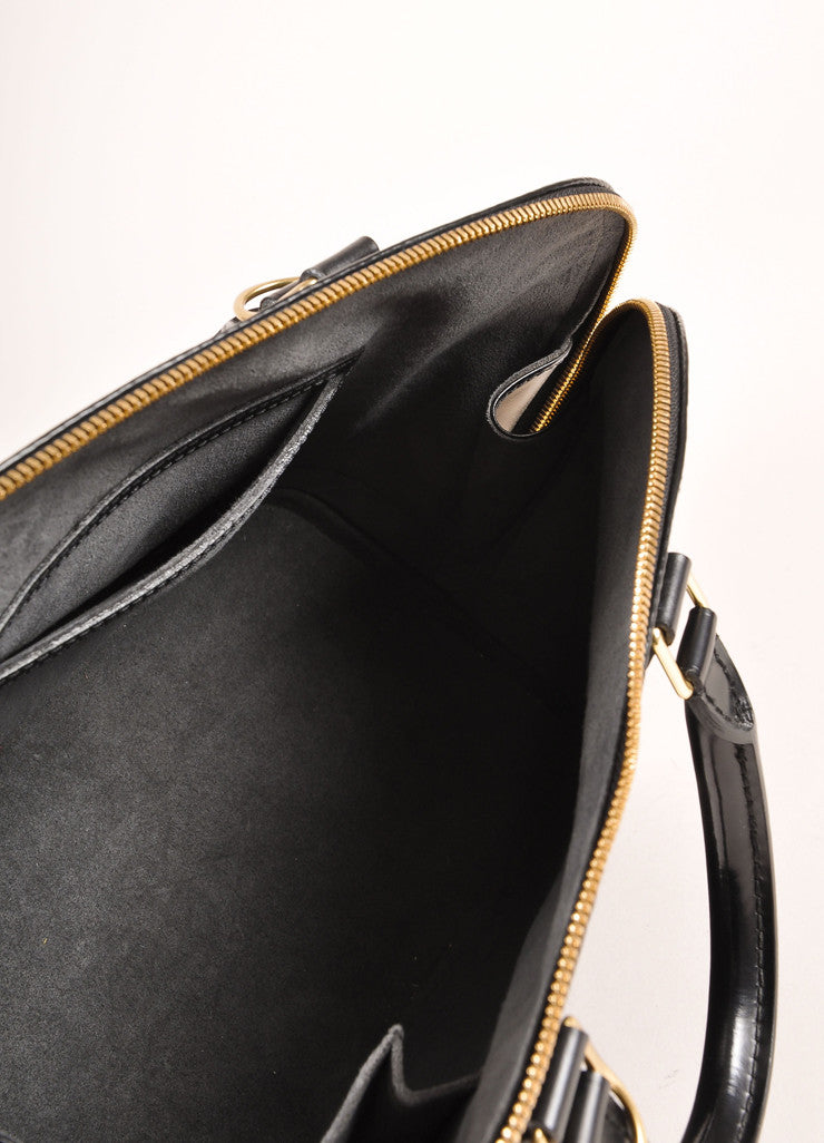 "Louis Vuitton Black Epi Leather ""Alma"" Zippered Top Handle Bag Interior"