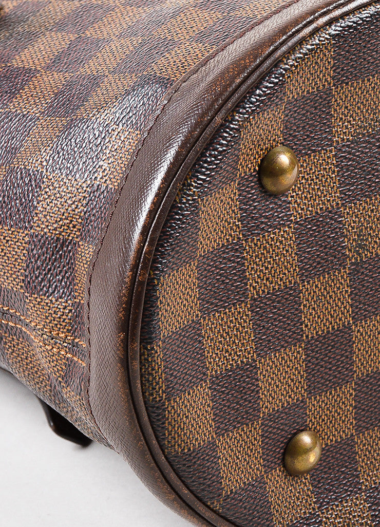 "Louis Vuitton Brown and Gold Toned ""Damier Ebene"" Coated Canvas ""Petit Bucket"" Bag Detail"