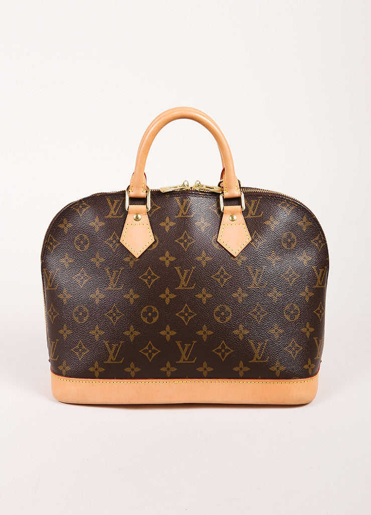 "Louis Vuitton Brown and Tan Coated Canvas Leather Monogram Logo ""Alma"" Handbag Frontview"