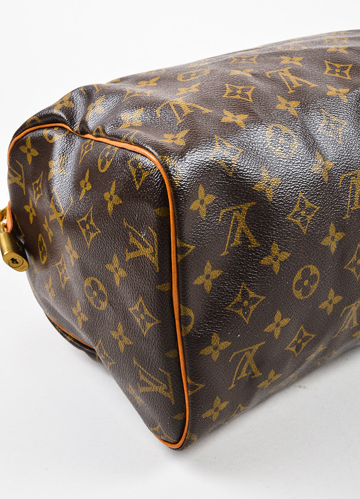 "Louis Vuitton Brown Tan Coated Canvas and Leather Monogram ""Speedy 30"" Bag Detail"