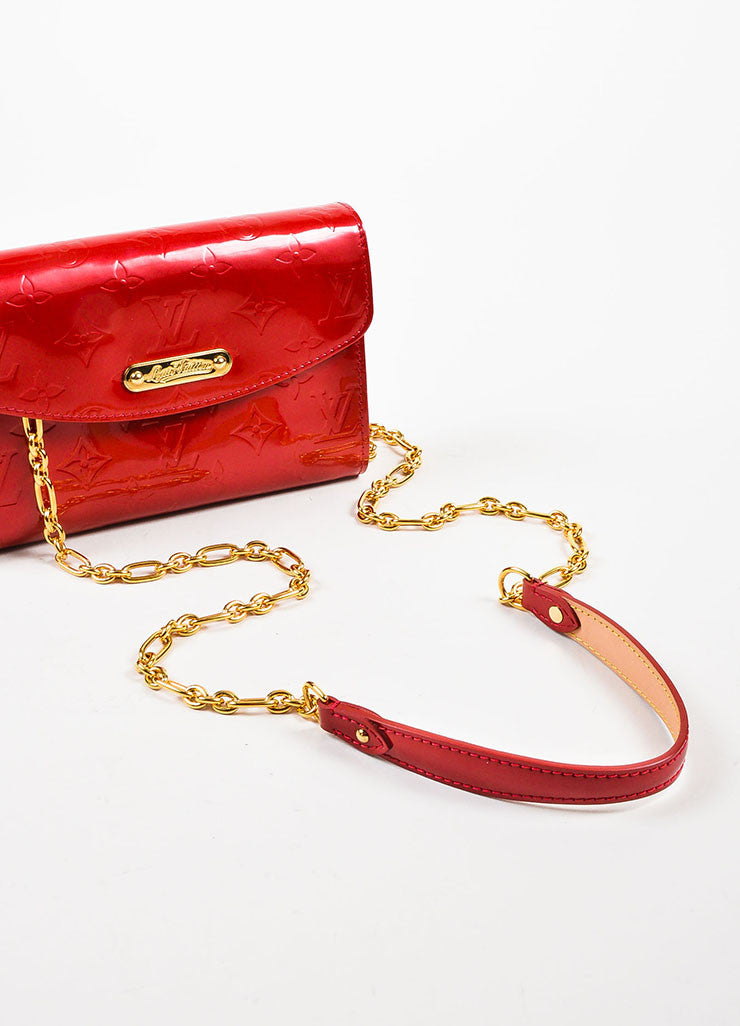 "Louis Vuitton Red Vernis Patent Leather Embossed Monogram ""Bel Air"" Chain Bag Strap"