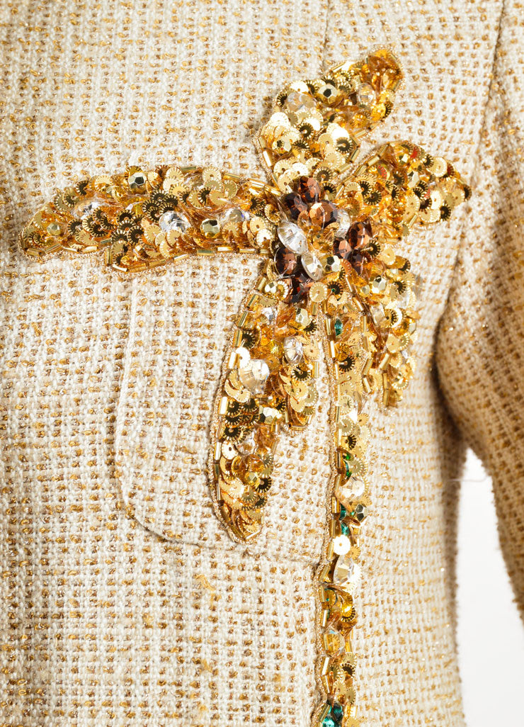 Marc Jacobs Gold Metallic Knit Sequin Palm Tree Jacket Detail