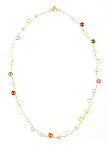 18K Gold Marco Bicego Multicolor Stone Beaded Necklace Front