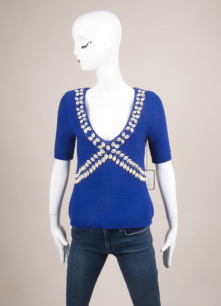 Moschino Cheap and Chic New With Tags Blue Cotton Shell Embellished Sweater Frontview