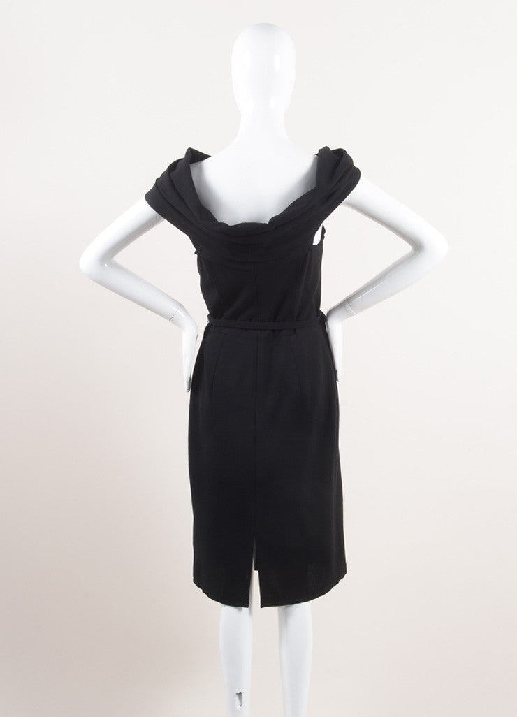 Oscar de la Renta New With Tags Black Wool Asymmetrical Draped Belted Dress Backview