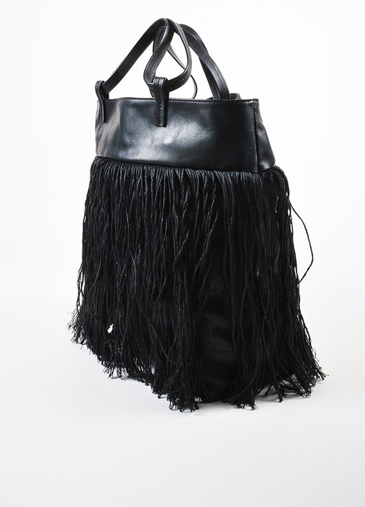 Pomandere Black Leather Linen Woven Fringe Trim Shoulder Tote Bag Sideview