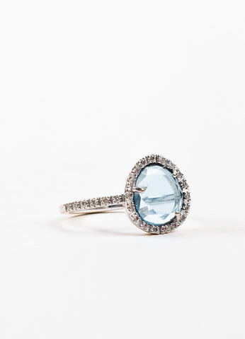 "Pomellato 18K White Gold, Blue Topaz, and Pave Diamond ""Culpo Di Fulmine"" Ring Sideview"