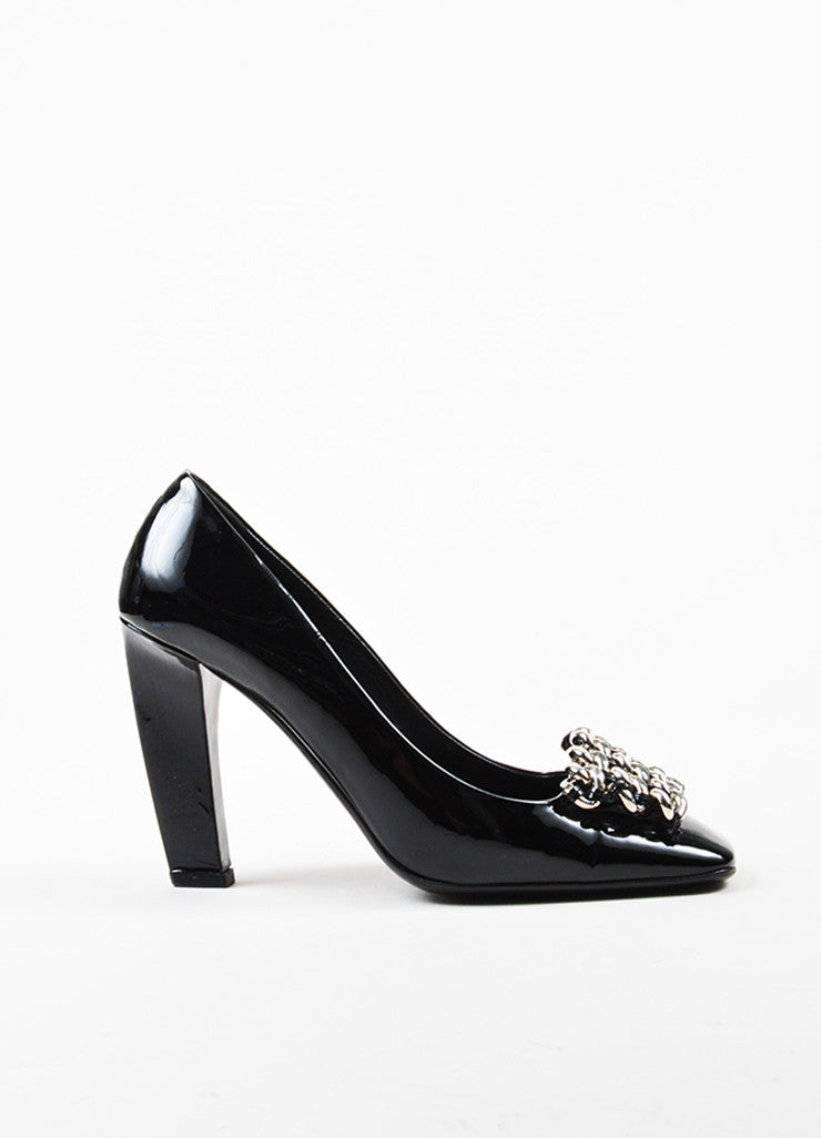 Prada Black Patent Leather Silver Toned Chain Square Toe Pumps Sideview