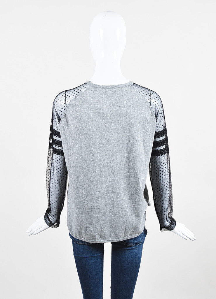 Red Valentino Grey and Black Sheer Sleeve T-Shirt Top Backview