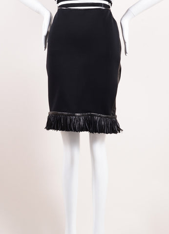 Reed Krakoff Black Neoprene and Leather Fringe Feather Pencil Skirt Frontview