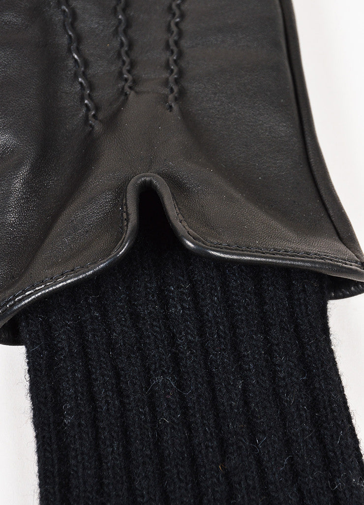 "Soia & Kyo Black Leather Wool Knit ""Carmel"" Gloves Detail"