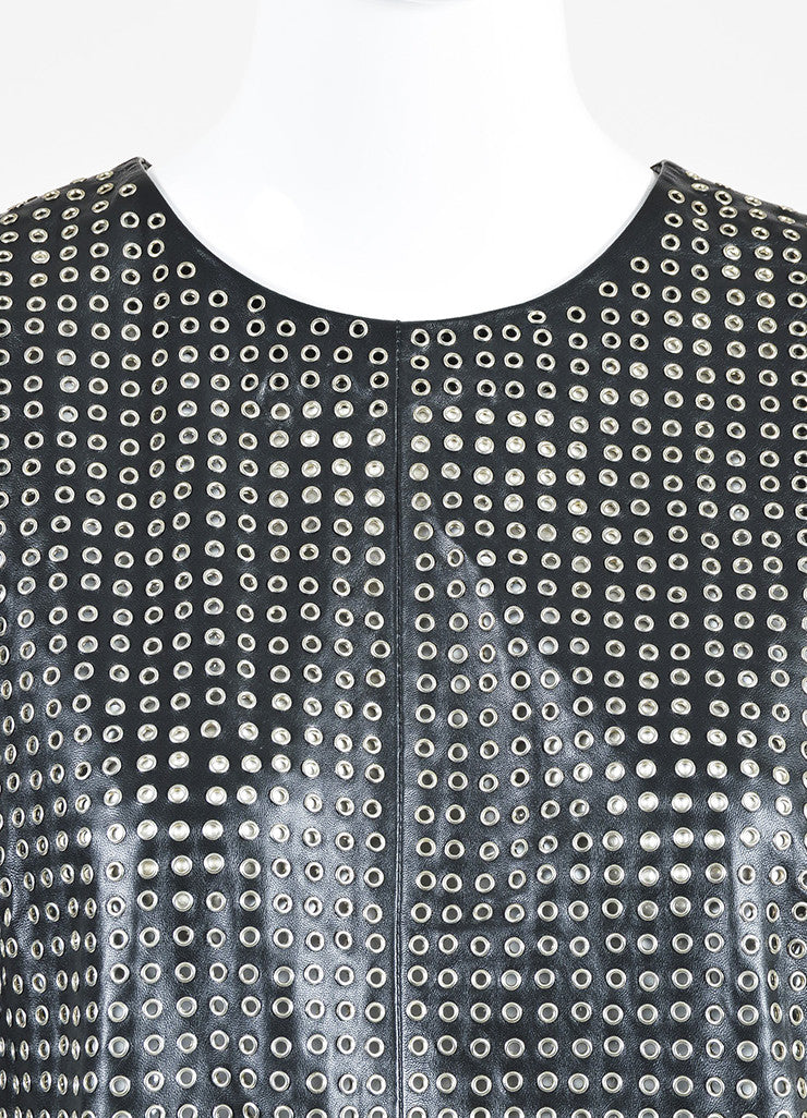 Tamara Mellon Black and Silver Toned Leather Eyelet Sleeveless Top Detail