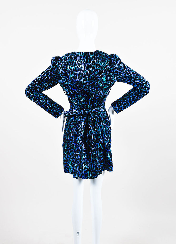 Blue and Black VICTORIA Victoria Beckham Velvet Leopard Gingham Belt Dress Backview
