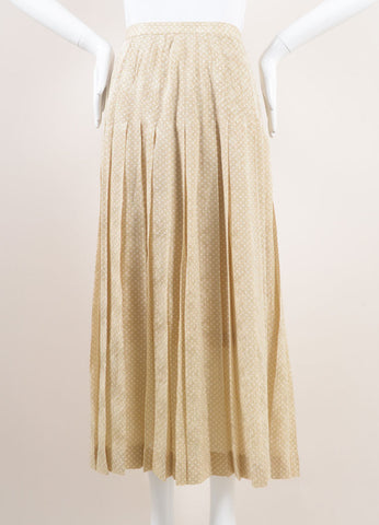 Chanel Beige and White Polka Dot Jacquard Pleated Silk Skirt Frontview