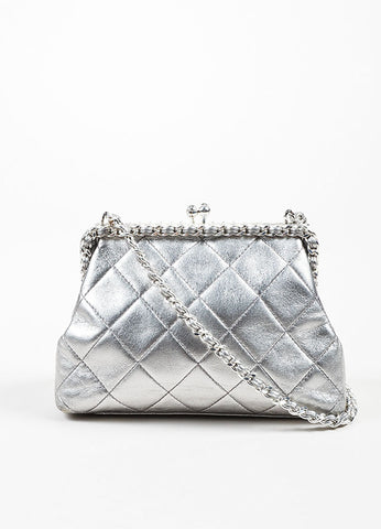 Metallic Silver Chanel Leather Quilted Crossbody Chain Frame Evening Bag Frontview