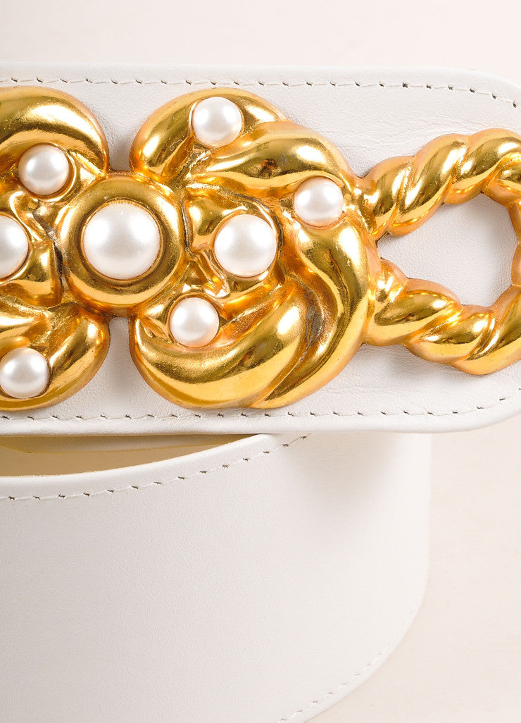 Monai Accessories White Leather and Gold Toned Faux Pearl Detail Belt Detail