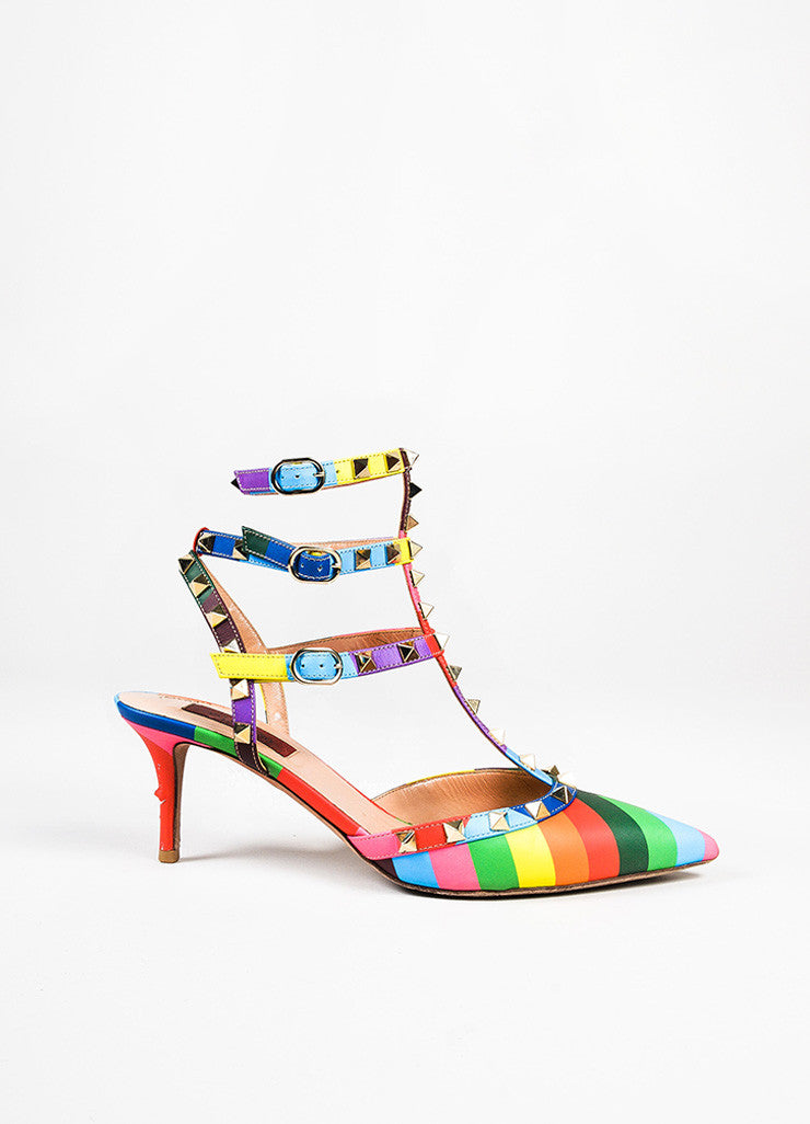 "Valentino Multicolor Leather Chevron Print ""Rockstud 1973"" Caged Pumps Sideview"