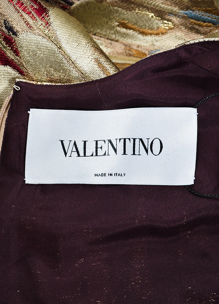 Multicolor Valentino Feather Print Jacquard Weave Short Sleeve Dress Brand