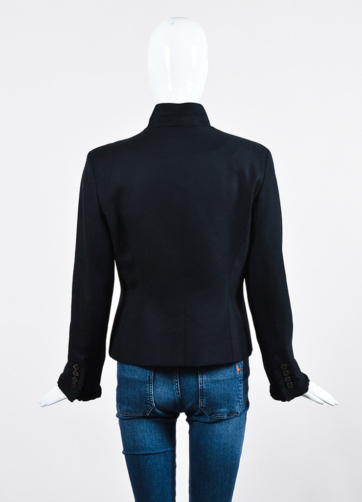 Black Yves Saint Laurent Wool Pleated Ruffle Trim Jacket Backview