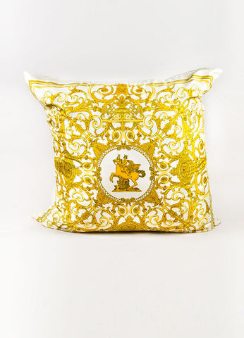 "Hermes ""Les Tuileries"" Cream and Gold Silk Large Throw Pillow Frontview"