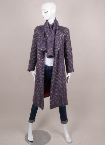Purple and Multicolor Flecked Tweed Long Buttoned Coat
