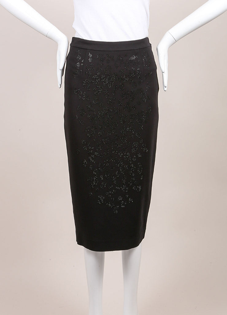 A.L.C. New With Tags Black Crystal Embellished Pencil Skirt Frontview