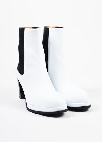 Acne Studios White Leather Black Elastic High Heel Platform Chelsea Boots Frontview