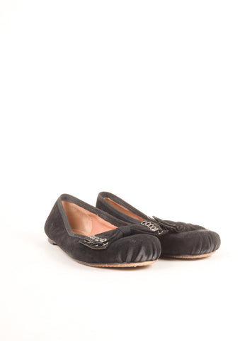 Alaia Black Grommet Bow Rounded Toe Suede Leather Flats Frontview